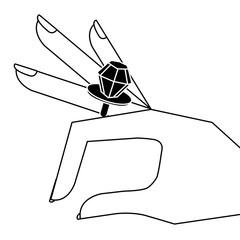 cartoon hand with diamond ring image vector illustration pictogram design