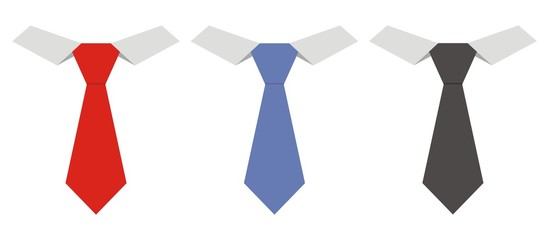 Three necktie, vector icon, fashion accessories