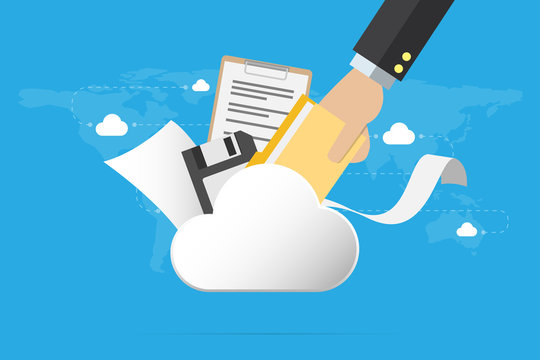 business hand insert document into the cloud with floppy disk and papers, backup data and business concept