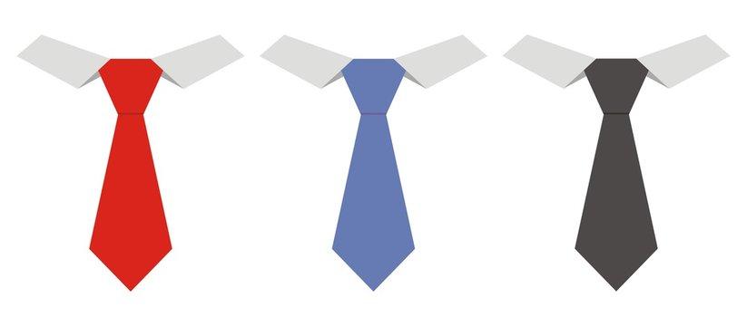 Three necktie, vector icon, fashion accessories
