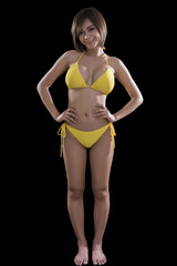 Low key image of beautiful smiling young brunette Asian woman in yellow bikini isolated on black background