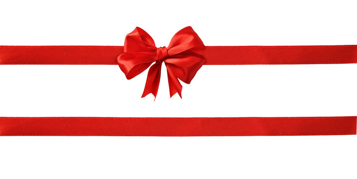 Red silk ribbons and a bow