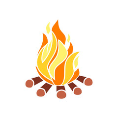 Campfire with firewood. Icon fire. Vector illustration