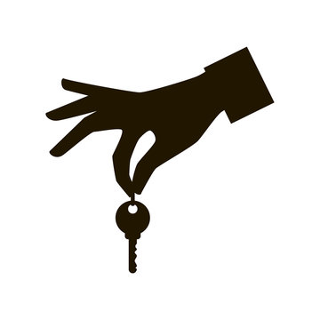 Hand holding a key icon, hand key icon vector