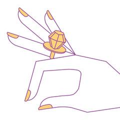 cartoon hand with diamond ring image vector illustration yellow design