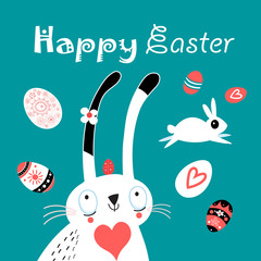 Greeting Easter greeting card with eggs and rabbits