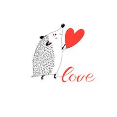 Congratulatory funny hedgehog with heart