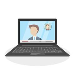 Meeting on laptop.