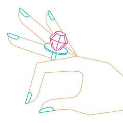 cartoon hand with diamond ring image vector illustration color line