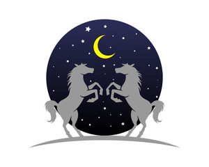 circle moon night horses stallion mustang mare silhouette image