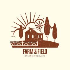 Vintage rural farm emblem with farm house