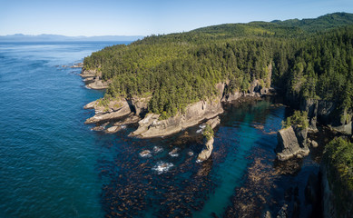 Aerial view of Cape Flattery in Neah Bay, Washington, USA.