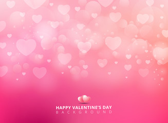 Happy valentines day with shining heart bokeh on pink background. Vector illustration.