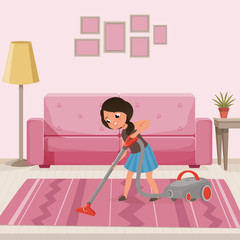 Cheerful teen girl cleaning carpet with vacuum cleaner at living room. Child helping with housework. Sofa, lamp, flower on table and pictures on wall. Flat vector design