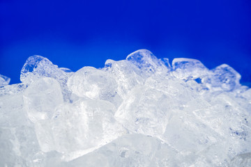 ice on blue isolated