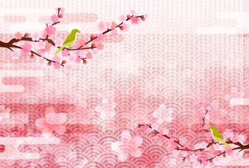 梅 桜 和紙 背景