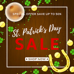 Promo Banner for Saint Patrick's Day Sale. Top View on Festive Composition with Beer Glass, Horseshoe, Golden Coins and Clover Leaves on Wooden Texture. Vector Illustration with Confetti.