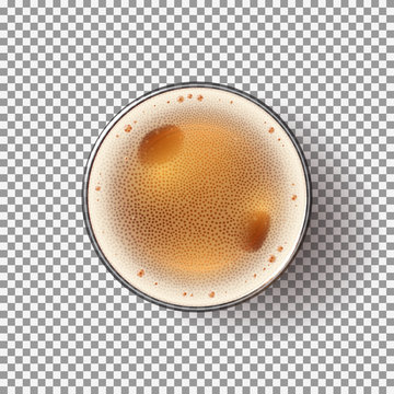 Beer Glass Isolated on Transparent Backdrop. Top view on Realistic Alcohol Drink. Vector Illustration.