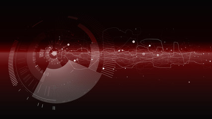 Abstract tech design background. Engineering technology wallpaper made with lines, dots, circles. Futuristic technology interface on dark background. Digital technology concept, vector illustration