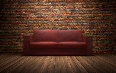 Old red leather sofa in empty room with brich wall. 3d rendering