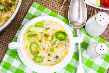 Dishes from fish. Soup with salmon and cream