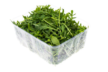 Fresh green arugula in container