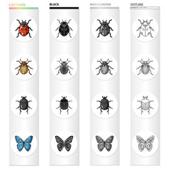 Ladybug, Colorado beetle, insect bug, butterfly. Insects set collection icons in cartoon black monochrome outline style vector symbol stock illustration web.