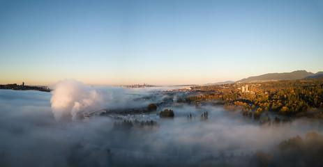 Aerial view above the fog of Horseshoe Bay, West Vancouver, British Columbia, Canada.