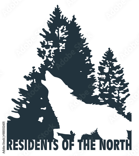 c3a043f6e Wolf double exposure mountain landscape with fir trees