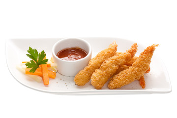 Shrimp in batter with vegetables isolated