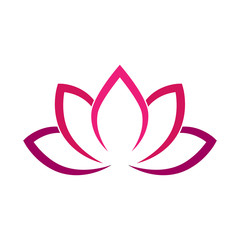 Calligraphic lotus blossom in pink-violet colors. Yoga symbol. Simple flat vector illustration.
