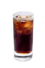Glass of Coke cocktai ice cubes isolated