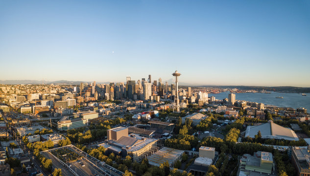 View of Seattle Downtown, Washington, during a vibrant summer sunset.