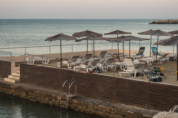 The resort is on the beach. Kavarna is a Black Sea resort in the Dobruja region of north-eastern Bulgaria.
