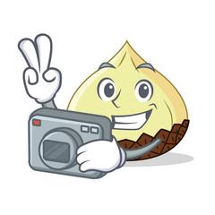 Photographer snake fruit mascot cartoon
