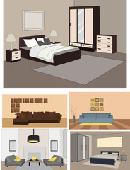 vector, isolated bedroom, bed and wardrobe, set
