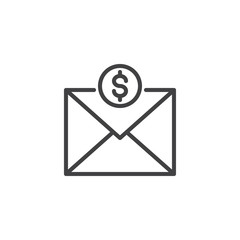 Mail envelope with dollar coins line icon, outline vector sign, linear style pictogram isolated on white. Send money by email symbol, logo illustration. Editable stroke