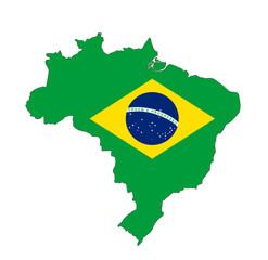 ブラジル地図と国旗