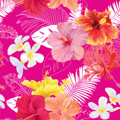 Tropical seamless pattern with hibiscus flowers, plumeria and leaf on pink background. Vector set of exotic tropical garden for wedding invitations, greeting card and fashion design.