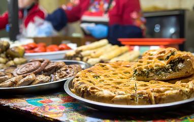Pies at Christmas food market.