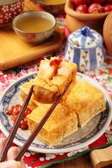 Taiwan distinctive traditional snack of stinky tofu.