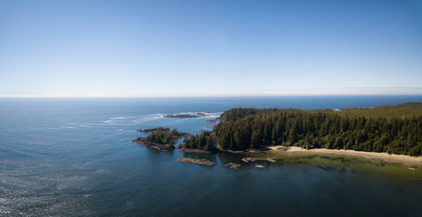 Aerial panoramic view of the beautiful Pacific Ocean Coast during a vibrant sunny summer day. Taken near Tofino, Vancouver Island, British Columbia, Canada.