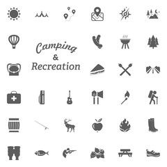 Camping and Recreation letter icon. Camping and outdoor recreation icons set