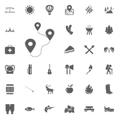 Distance a to b icon. Camping and outdoor recreation icons set