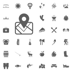 Map location icon. Camping and outdoor recreation icons set.