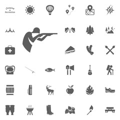 Hunter icon. Camping and outdoor recreation icons set