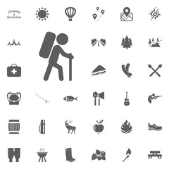 Hiking icon. Camping and outdoor recreation icons set
