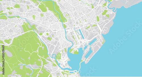 Urban vector city map of Cardiff, Wales
