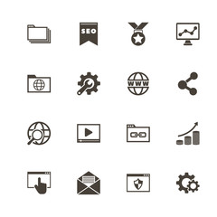 Seo icons. Perfect black pictogram on white background. Flat simple vector icon.