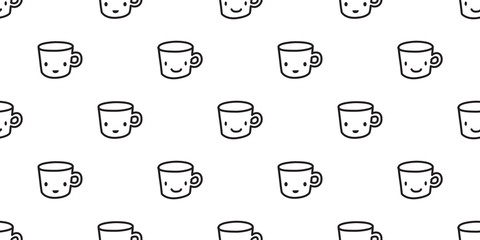 Cup Seamless Pattern coffee vector tea wallpaper isolated background